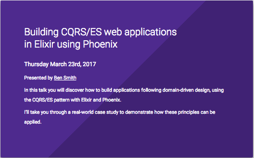Building CQRS/ES web applications in Elixir using Phoenix